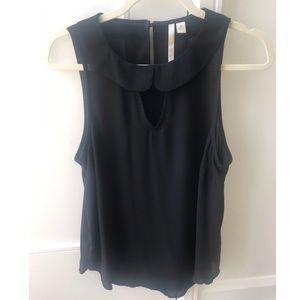 Black chiffon sleeveless blouse